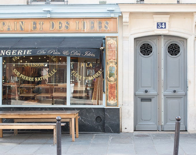 Paris Photography, Du Pain et des idées Parisian Boulangerie, Paris, France, Paris bakery, baby blue, paris wall art, rebecca plotnick