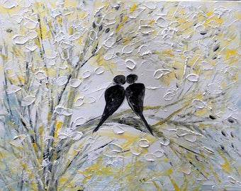 BIRDS White Gray Original Painting Canvas ROMANCE Ready to Ship