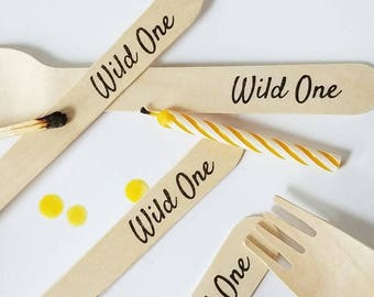 Wild One Forks - 20 Wooden Forks - Eco Friendly Party Supplies - 1st Birthday Party Theme