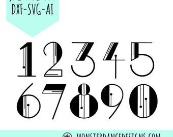 Art Deco Classic Numbers Digital Pattern Stencil for Silhouette -Printing - Etching- Stamping - Embroidery