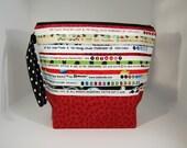 BIG zip SELVEDGE fabric lined project bag -  100% Cotton - OOAK