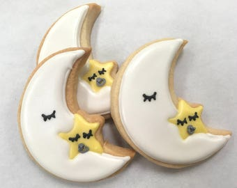 Moon and STAR Twinkle Twinkle COOKIES, 12 Decorated Sugar Cookie Party Favors