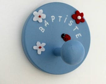 Coat rack round customizable blue happiness is in the Meadow