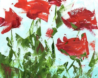 Original Poppies in Oil and Cold Wax, Oil on Paper, Red and Green, Flower Painting, 11 x 15, Free Shipping, Palette Knife Art, Kitchen Art