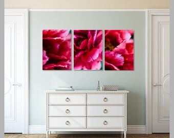 pink peony prints, nature print set, colorful photo collection, rustic home decor, set of 3 prints, large wall art, discount print set