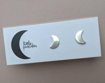 Mini Sterling silver crescent moon stud earrings