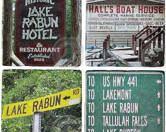 SET of 4 Lake Rabun, Georgia, Marble Coasters. U PICK 4, Mix and Match