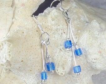 SALE, 50%, Royal Blue Transparent Cube beads in triple dangle earrings