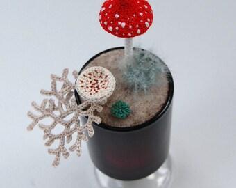 Woodland ornament, crochet lichen, nature gift, textile art, Forest fungi, mushroom art, fungi gift, elin, crochet art, toadstool