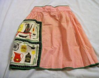 Vintage Apron, Retro Apron, Half Apron, Apron with a Pocket, Vintage Kitchen, vintage aprons, old fashion apron