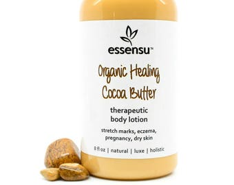 Organic Cocoa Butter Therapeutic Body Lotion | Dry , Dehydrated , Parched , Itchy Skin | Treat Stretch Marks | Sensitive Skin | Vegan - 8 oz
