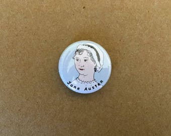 Jane Austen Pin, Pinback Button, Austen Pin, Literary Pin, Jane Austen, Writer Button