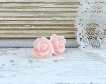 Pink Rose Studs Blush Pink Rose Earrings Rose Stud Earrings Pink Flower Studs Surgical Steel Studs