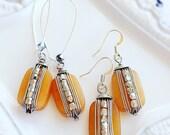 Beaded Earrings - Yellow Earrings - Spring Earrings - Silver - BUTTERSCOTCH SKIES