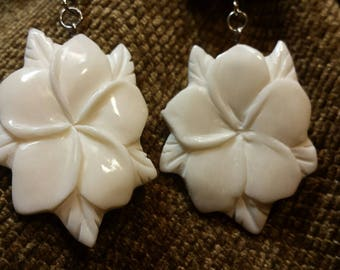 Carved Bone Earrings - Plumeria