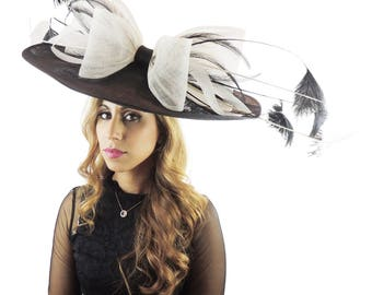 Extra Large Black & Cream Bow Feathers Fascinator Hat  for Weddings, Occasions and Parties **SAMPLE SALE