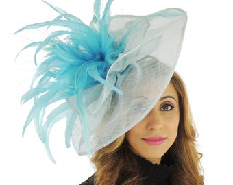 Turquoise Fascinator Kentucky Derby or Wedding Hat **SAMPLE SALE