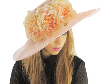 Large Pink & Peach Hat Fascinator Ascot Kentucky Derby Proms **SAMPLE SALE**