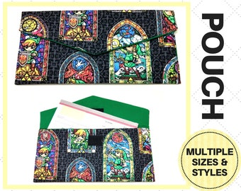 Zelda Stained Glass Pouch - Checkbook Case, Card Holder, Keychain, Clutch, Storage - Legend of Zelda