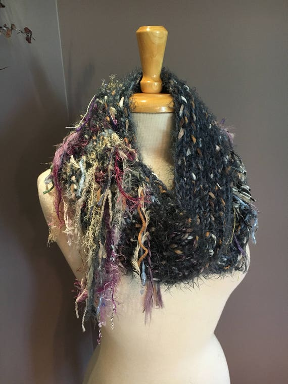 Art Knit Infinity Scarf, Peacock Infinity Series, Fringed knit Scarf, steel blue scarves, infinity, shoulder wrap, cowl with fringe