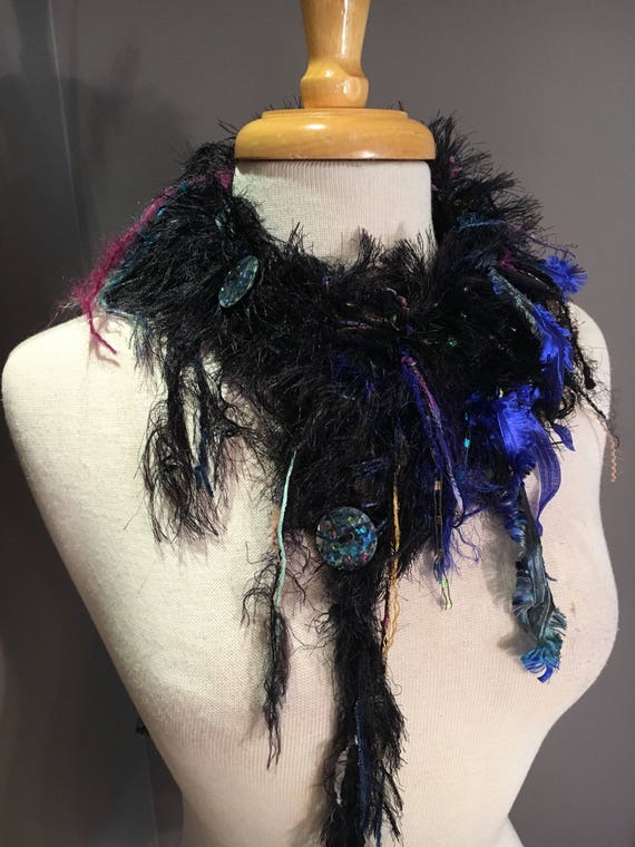 New - Handmade Knit Faux Fur Choker with glitter buttons, Dumpster Diva, black jewel tone fashion, fluffy scarves, cowls, boho, chic