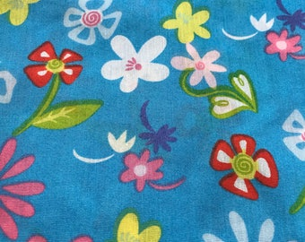 One Yard pf Vintage Sheet Fabric.  Bright blue floral