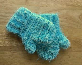 Blue Toddler 12-18 month Crochet Handmade Mittens