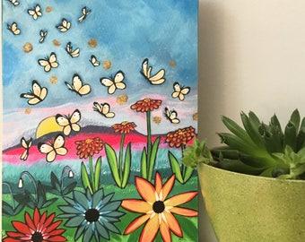 Print on Wood 5x7 : Butterflies Rising