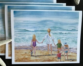 Fine Art Reproduction blank inside notecard, all purpose card,writing space, giclee print,walking the beach,wind &surf,Janet Dosenberry