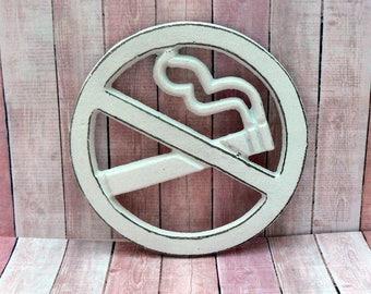 No Smoking Symbol Wall Sign White Shabby Chic Round Business Restaurant Plaque