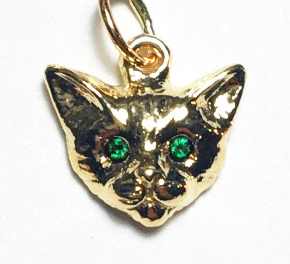 Yellow Gold Kitty Cat Charm with Emerald Eyes