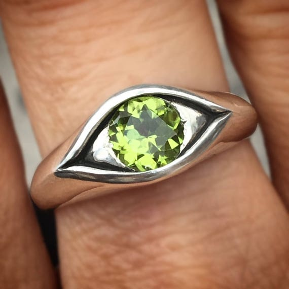 Large Sterling Silver Jeweled Eye Ring-Peridot, Blue Topaz, Green Spinel, Amethyst, White Topaz
