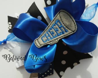 Cheerleader Layered Hair Bow, Football Sister, Friday Night Lights, Team Spirit Hair Bow, Megaphone Hair Bow