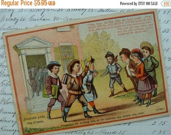ONSALE Rare Antique Diamond Ink Trading Card with School Children