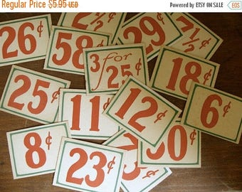 ONSALE 10 Vintage Antique General Store Price Cardboard Tags Lot