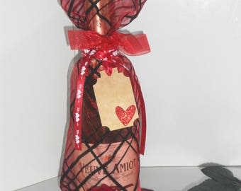 Valentine Sheer Red Wine Bag with Ribbons and Embellished Gift Tag