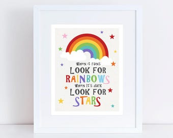 look for rainbows and stars - postive kids art, inspirational art for kids, colourful nursery decor, printed childrens wall art, girl or boy