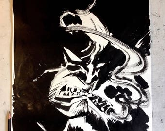 """Bub Original 15"""" X 22"""" Ink on Paper Drawing of Wolverine"""