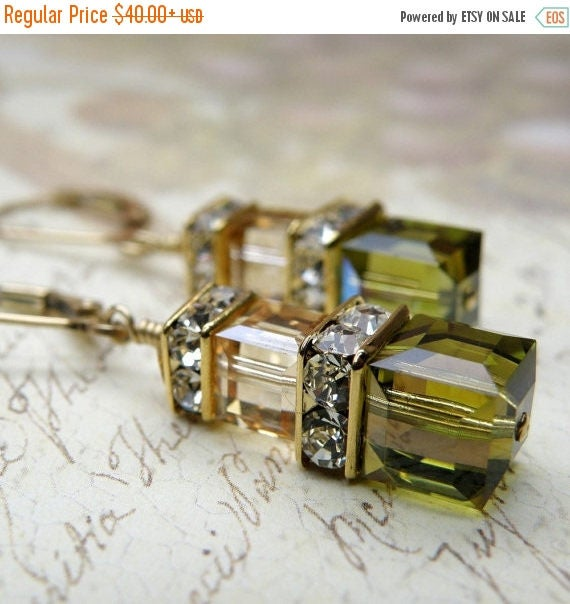 Autumn Earrings, Olive Green, Champagne, Yellow Gold Filled, Khaki, Dangle, Cube, Wedding, Bridesmaid, Handmade Jewelry,  Ready to Ship