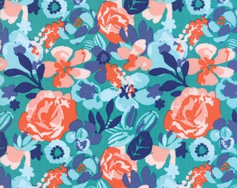 Turquoise Voyage Fabric - 27281 11 - Kate Spain - Moda