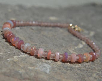 Ethiopian Opal Bracelet Strawberry Quartz