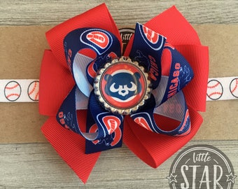 Chicago Cubs Hair Bow - Cubbies Headband - Cubs Hair Bow- Chicago Cubs Baby Hair Bow - Cubs Baby Shower Gift