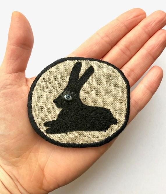 "Fiber Brooch - ""Black Bunny""  hand embroidered statement jewellery with black rabbit"