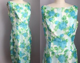 Vintage 1960s Chiffon Aqua Roses Cocktail Party Dress Size Medium