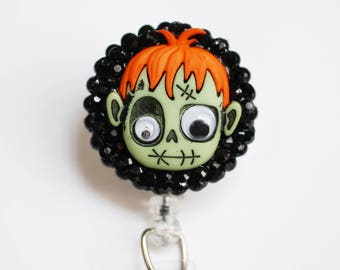 Halloween Zombie Boy ID Badge Reel - Retractable ID Badge Holder - Zipperedheart