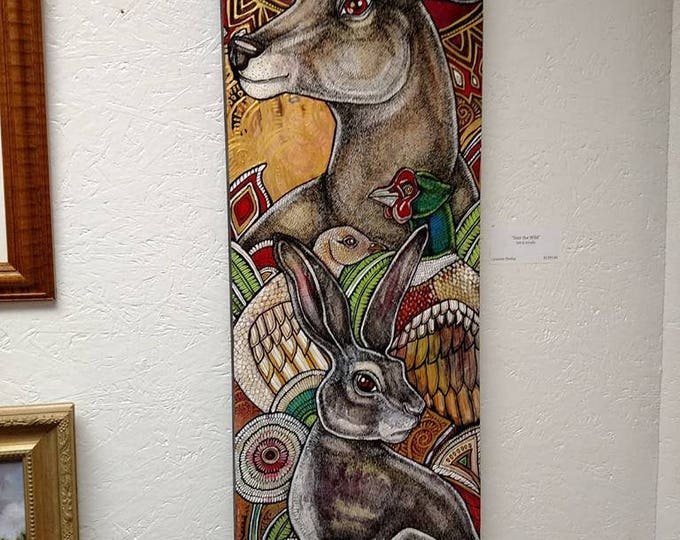 """Original """"Into the Wild"""" Animal / Wildlife Art Nouveau Style Painting by Lynnette Shelley"""