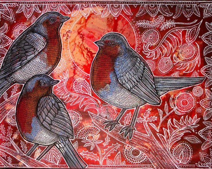 Three Robins Archival Art Print by Lynnette Shelley