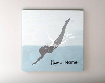Girl Diving Wood Sign, Name Option, 15 x 15 Inches, Woman Swimming in Blue Water, Splashing, Swimmer, Diver, Swim Team, Coastal Wall Decor