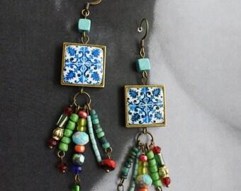 Earrings Beaded Tile Dangle Boho Portugal Portuguese Antique Azulejo FRAMED Turquoise  Évora Monestary 1485 Pousada  - Gift Box  717