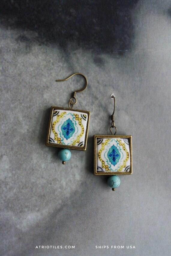 Earrings Portugal Tile Azulejos  Antique,  Aqua and Yellow ESGUEIRA - reversible Framed Mosaic 349
